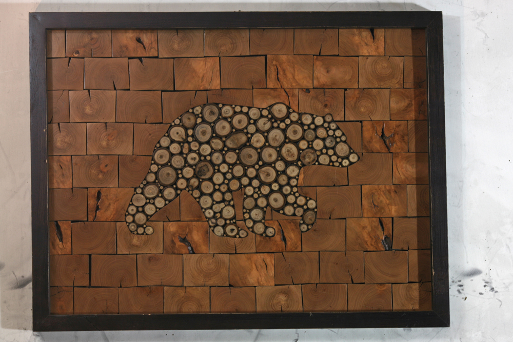 Bear Is Made With Butternut Twigs From Minnesota. Background Is Cherry    Scrap Wood From Metal Workshop. Frame Is Ash  Scrap Wood From Furniture  Business.